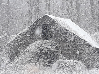 Old Barn in Snowstorm