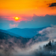 Foggy Blue Ridge Mountains Sunset