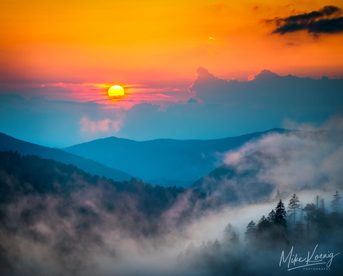 Foggy Blue Ridge Mountains Sunset