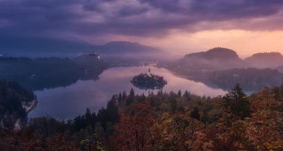 Autumn in bled lake